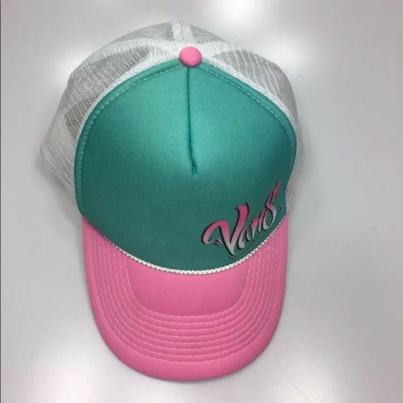 a82b39a89d7 Vans Pink   Teal Mesh Trucker Hat Snapback by Otto